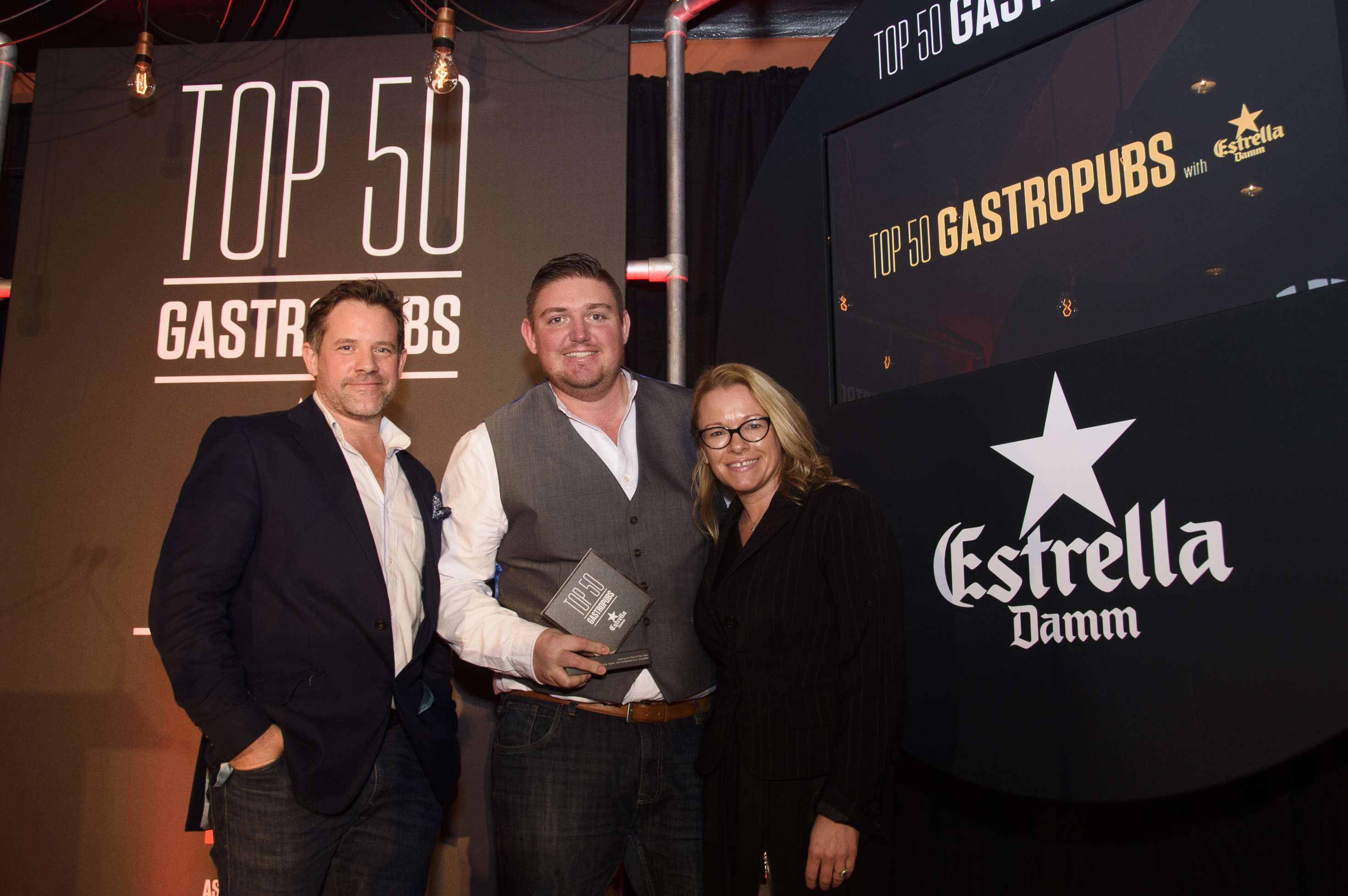 Chef Rob Taylor from The Compasses collects his award at the Estrella Damm Gastro Pub Awards 2017