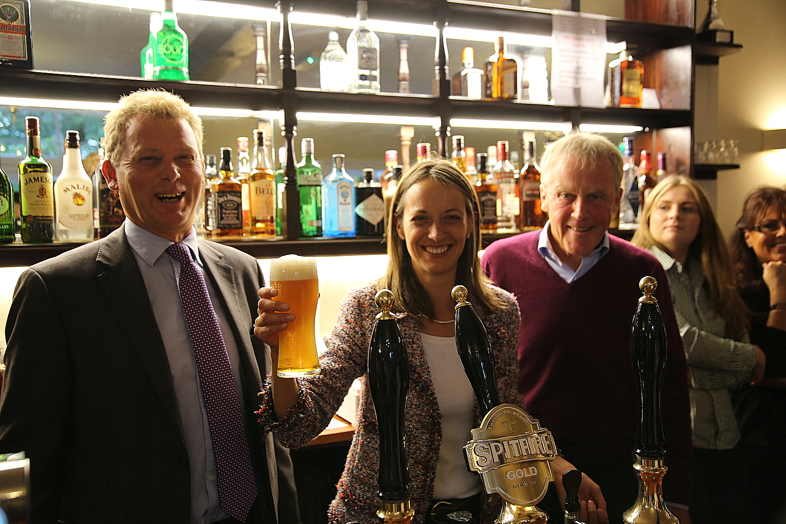 Jonathan Neame, Helen Whatley, and Chris Porter at the reopening of the Harrow, Stockbury