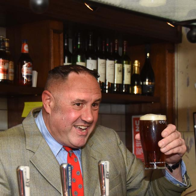 Keith Brymer Jones with the first pint at the refurbished East Kent, Whitstable